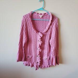 J Jill Ruffle Pink Cable Knit Cardigan Sweater